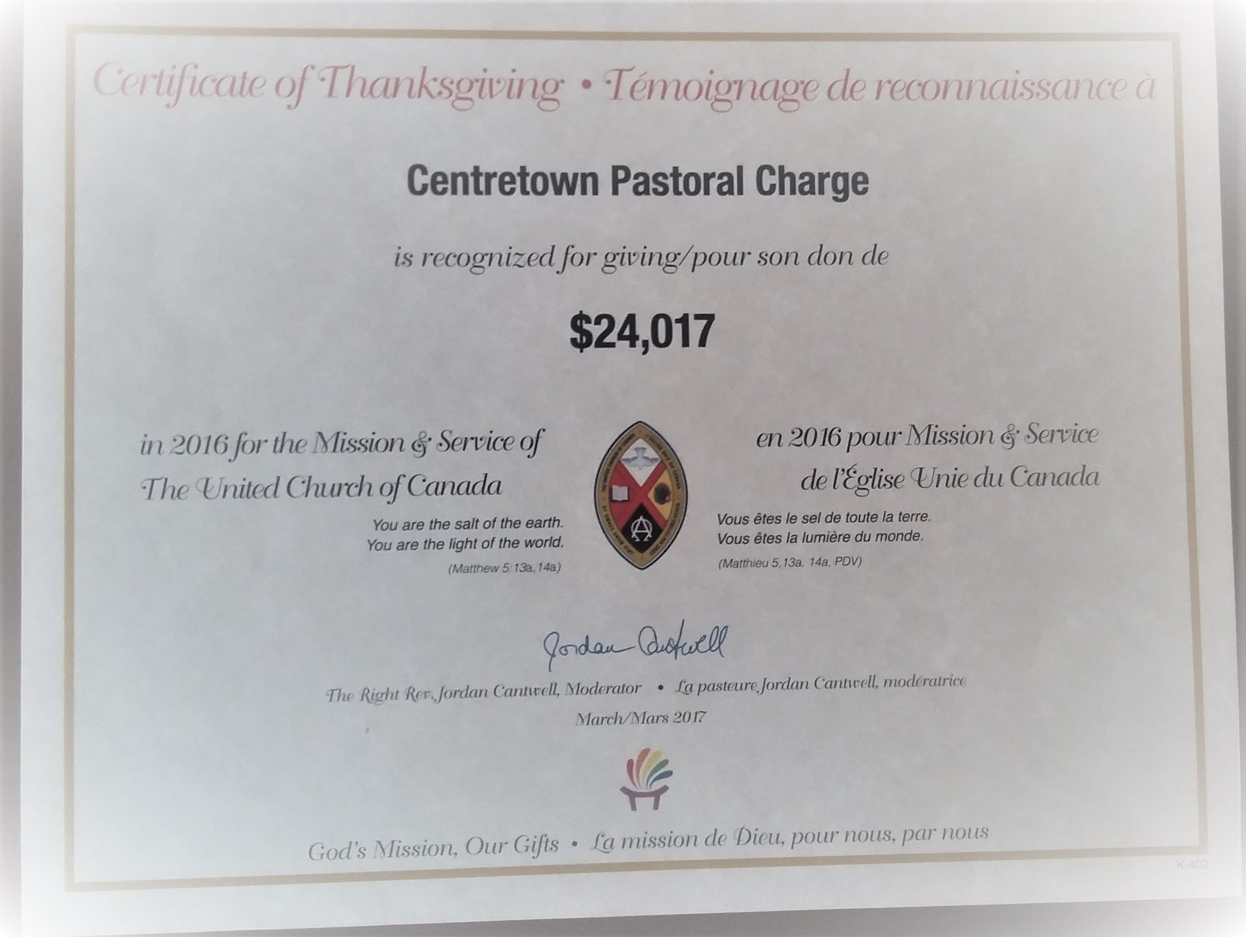 2016 Certificate of Thanksgiving M&S