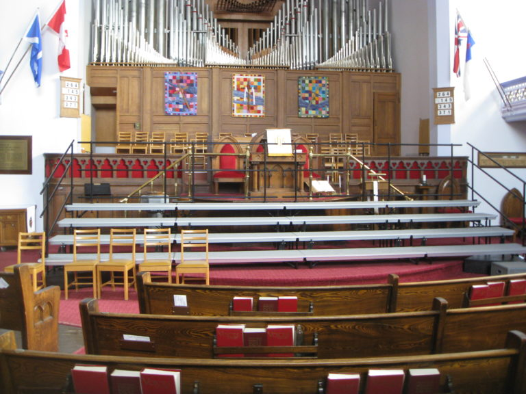 Sanctuary with risers for concert