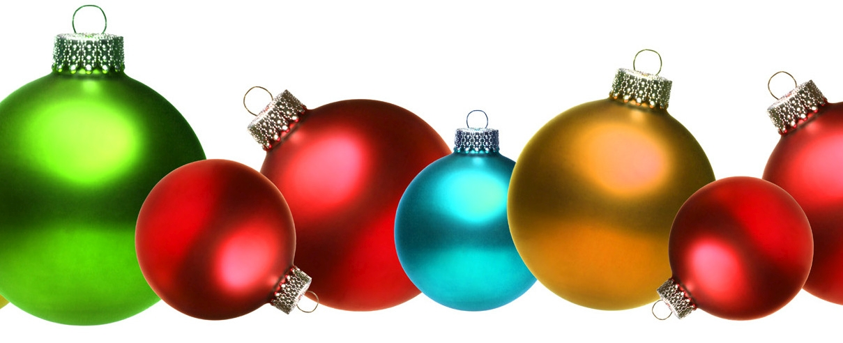 Colored christmas glass balls isolated on white background